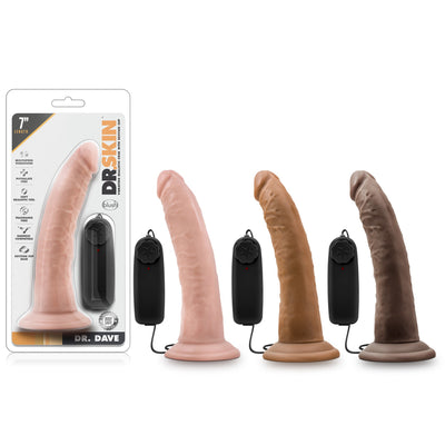 "Blush Novelties - Dr. Skin Dr. Dave Vibrating Cock with Suction Cup - 7"" Vanilla"