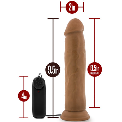 "Blush Novelties - Dr. Skin - Dr. Throb Vibrating Realistic Cock with Suction Cup - 9.5"" Mocha"
