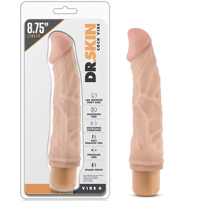 "Blush Novelties - Dr. Skin Cock Vibe 6 - 8.75"" Flesh"