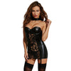 Dreamgirl Faux-Leather and Lace Garter Slip