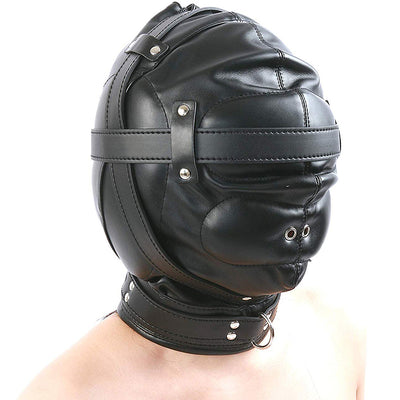 Full Head Restraint Hood Mask - Black
