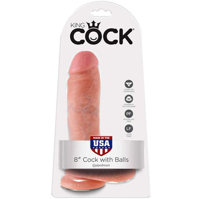 "King Cock 8"" Cock with Balls - Flesh"
