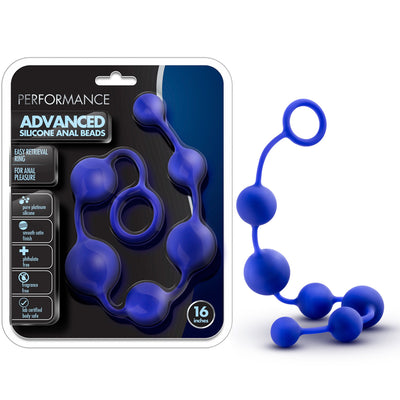 Performance Silicone Anal Beads - Indigo