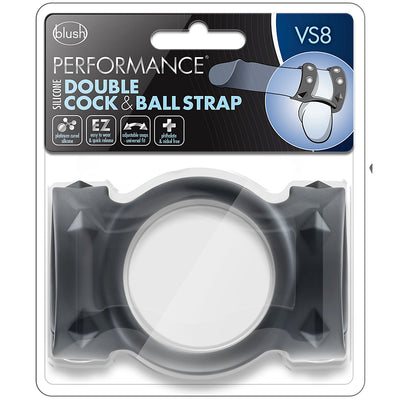 Blush Novelties - Performance VS8 Silicone Double Cock & Ball Strap - Black