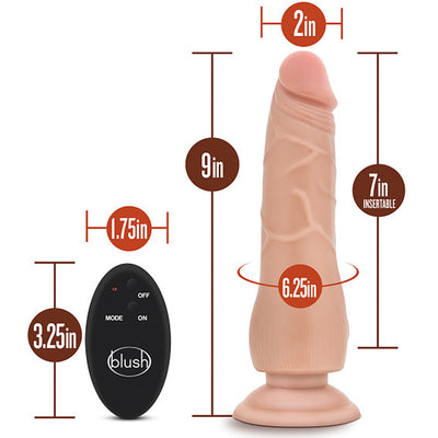 "Blush Novelties - Silicone Willy's 10 Function Wireless Remote Silicone Dildo - 9"" Vanilla"