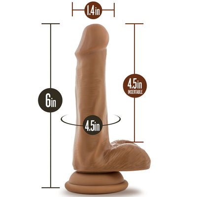 "Blush Novelties - Silicone Willy's Silicone Dildo With Balls - 6"" Mocha"