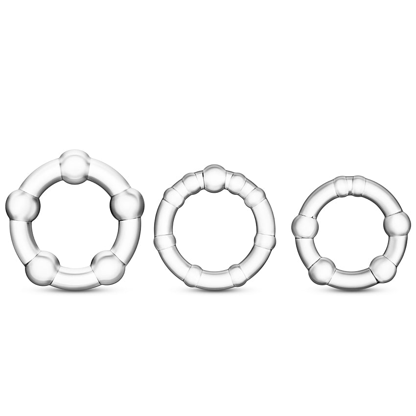Stay Hard Beaded Cockrings-Clear (3 Pack) - Godfather Adult Sex and Pleasure Toys