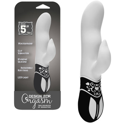 Design for Orgasm Rabbit G-Spot Vibrator - White - Godfather Adult Sex and Pleasure Toys