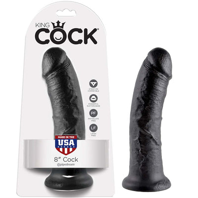 "King Cock 8"" Cock-Black - Godfather Adult Sex and Pleasure Toys"