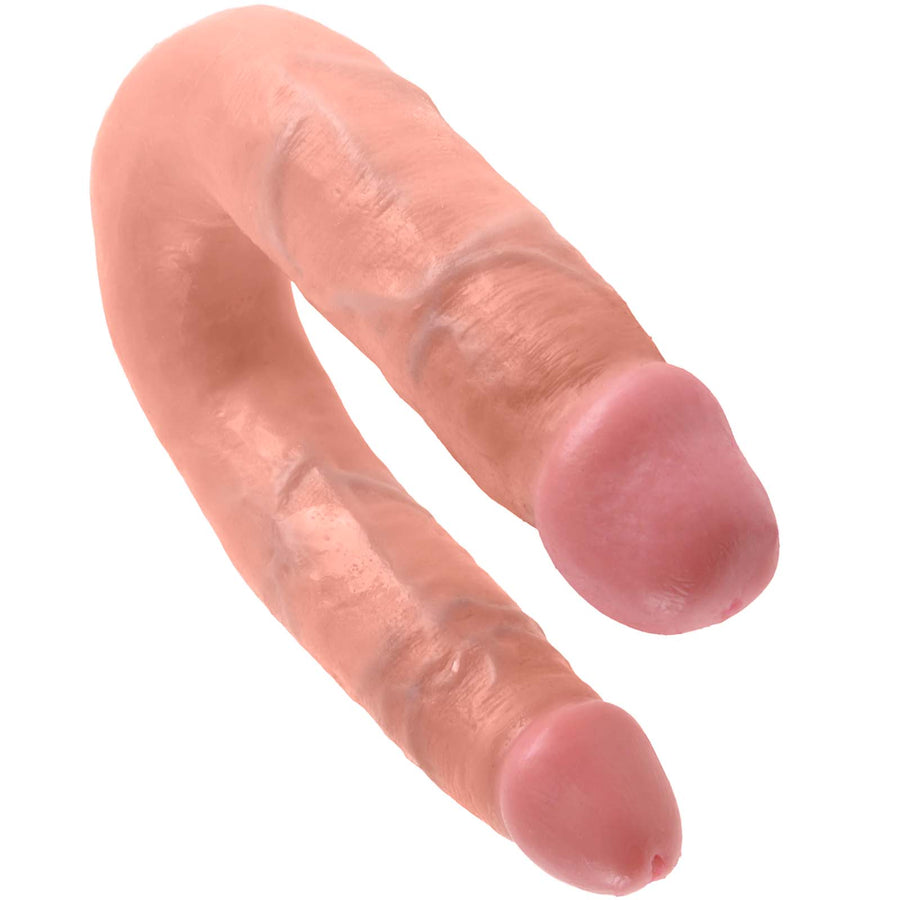 King Cock U-Shaped Medium Double Trouble - Flesh - Godfather Adult Sex and Pleasure Toys