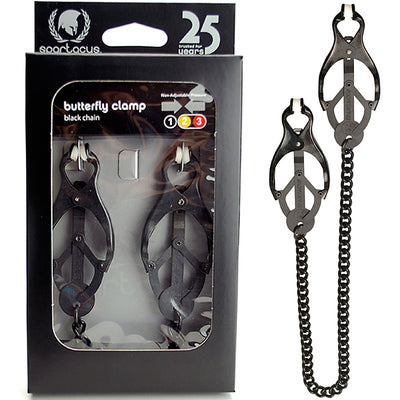 Spartacus Enduracne Butterfly Clamp With Link Chain - Black - Godfather Adult Sex and Pleasure Toys