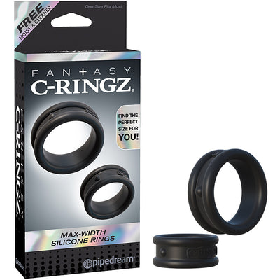 Fantasy C-Ringz Max-Width Silicone Rings Black - Godfather Adult Sex and Pleasure Toys