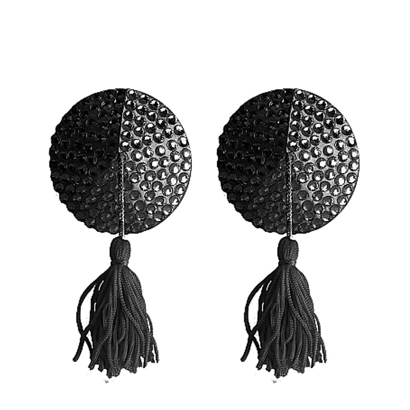Ouch! Nipple Tassels Round-Black - Godfather Adult Sex and Pleasure Toys
