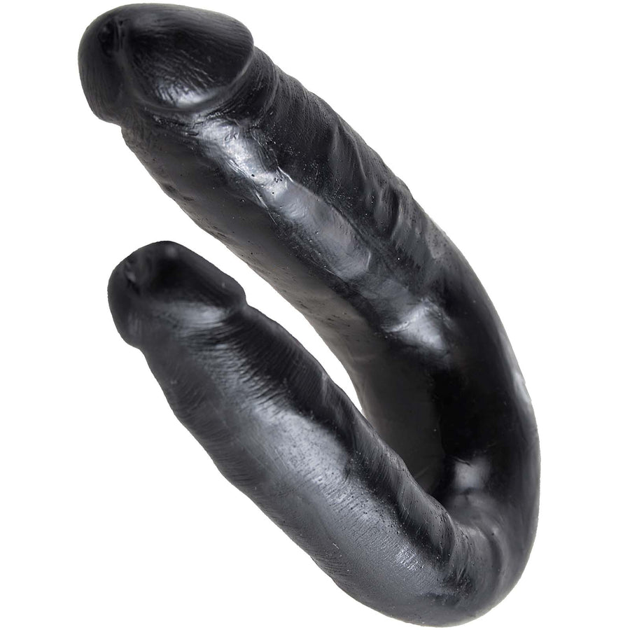 King Cock U-Shaped Small Double Trouble - Black - Godfather Adult Sex and Pleasure Toys