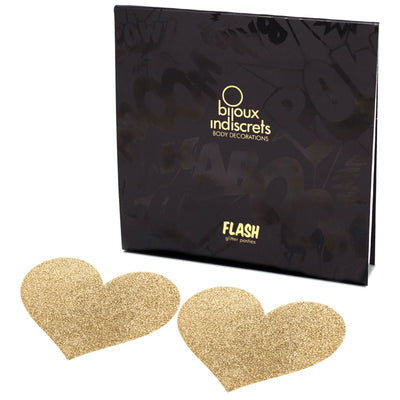 Bijoux Flash Heart Glitter Pasties-Gold - Godfather Adult Sex and Pleasure Toys