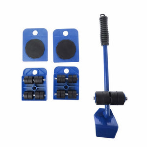 Furniture Mover Tool Set 4 Wheeled Mover Roller+1 Wheel Bar