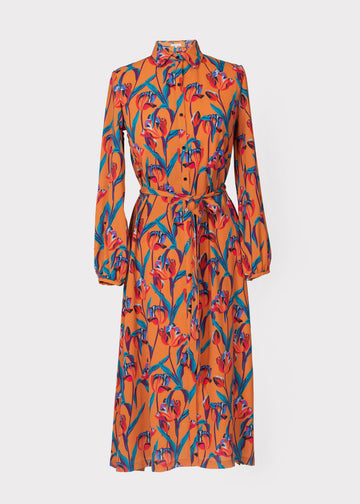 Acacia Dress in Ochre Tulip Print