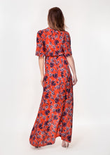 Angel sleeve wrap maxi dress with tie belt in rust ground tulip print