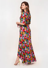 Angel sleeve wrap maxi dress with tie belt in bright abstract floral print
