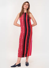 Sleeveless midi dress with side splits in pink and red stripe print