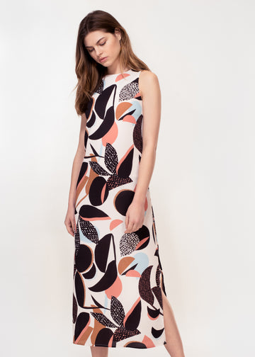 Sleeveless midi dress with side splits in bold abstract print