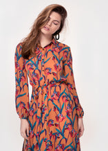 Long Sleeve belted shirt dress in a Ochre Tulip print
