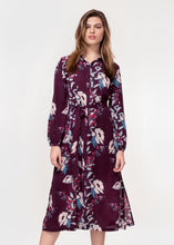 Long sleeve belted shirt dress in a plum peony print