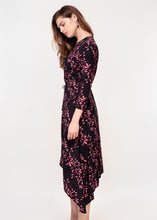 3/4 sleeve dress with asymmetric hem in a black ground pink leaf print