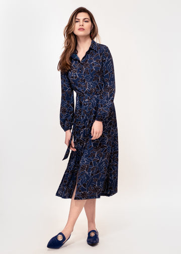 Long Sleeve belted shirt dress in a navy and white sketch print