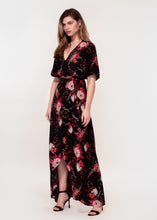Angel sleeve wrap maxi dress with tie belt in black ground floral print