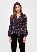 Long sleeve, V neck tie front top in Black and white sketch floral print