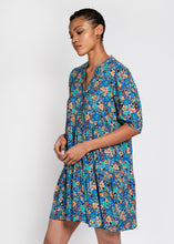 Lilium Short Tiered dress in expressive blue floral print