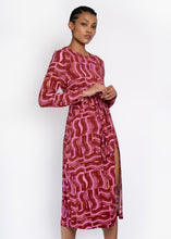 Verbena Tie front dress in Rust paint brush print