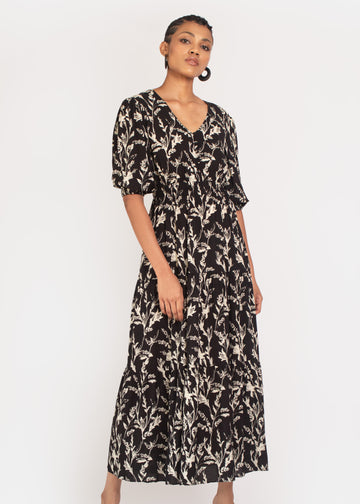 Kalmia Tiered Maxi dress in Black and white sketch floral