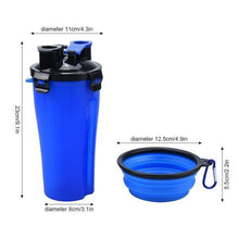 Load image into Gallery viewer, 2-In-1 Pet Travel Water & Food Bottle with 2 Foldable Bowls