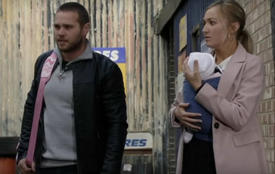 Louise Mitchell wearing baby sling wrap in Eastenders
