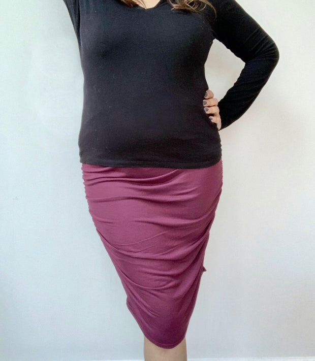 Ruched Maternity Skirt (Wine)
