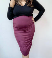 Maternity Skirt Burgundy#color_burgundy