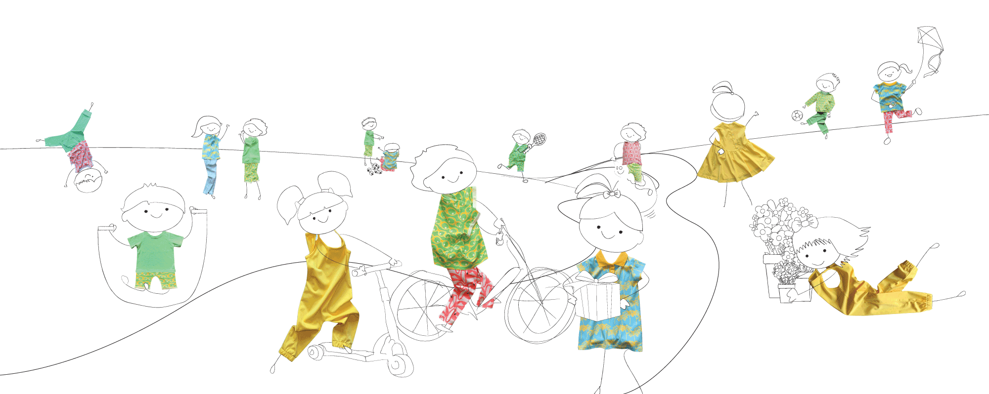 Children's clothing brand | Little Pegs | An illustrated image of childrens playing and having fun whilst wearing the let them play collection for Little Pegs