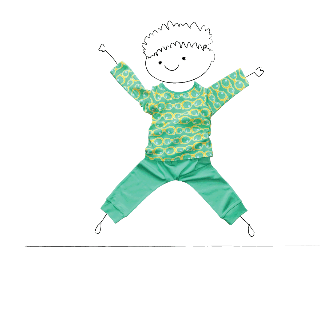 Children's clothing brand | Little Pegs Little boy jumping in the air wearing a green sunglasses print t-shirt and casual green joggers