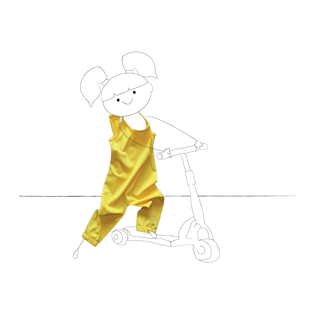 Children's clothing brand | Little Pegs.  Little girl on a scooter wearing a yellow jumpsuit