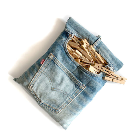 Re-purposed pair of jeans made into a washing peg bag