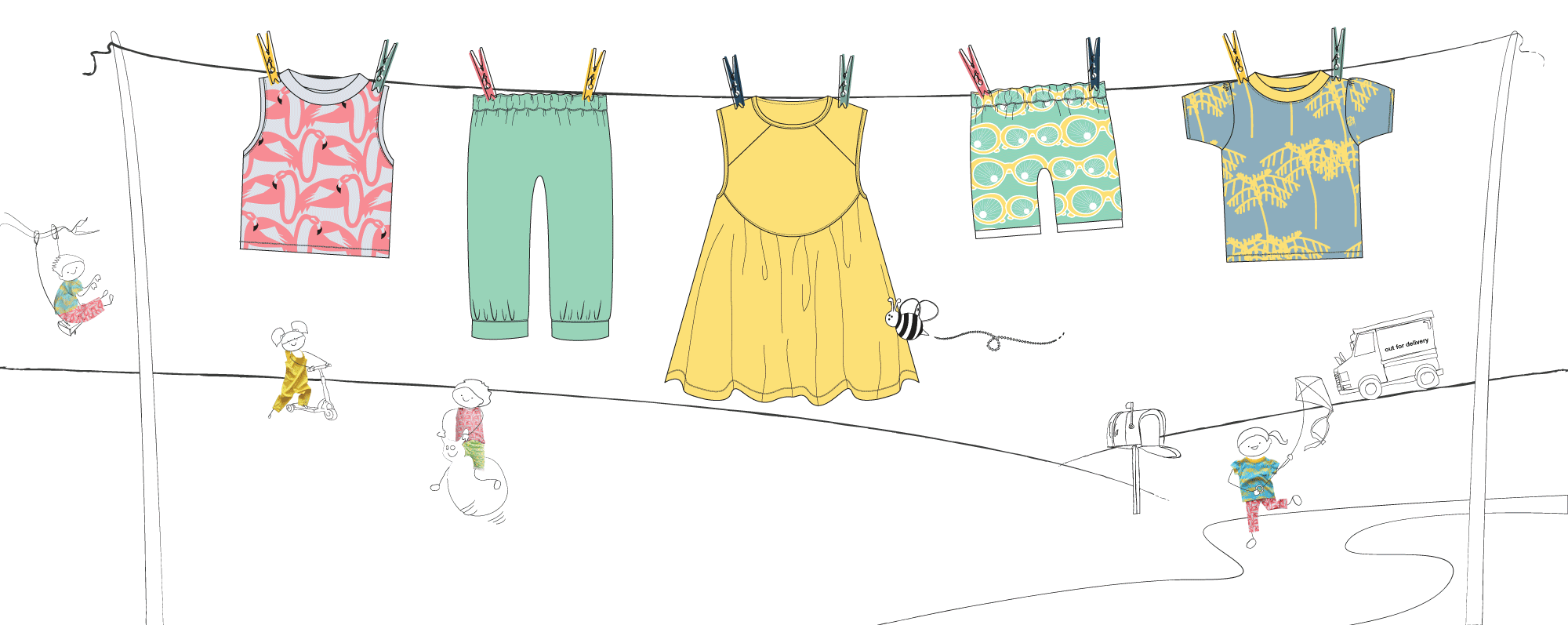 Children's clothing brand   Little Pegs   an illustration of a washing line with Little Pegs clothing. In the background children's playing wearing Little Pegs clothing