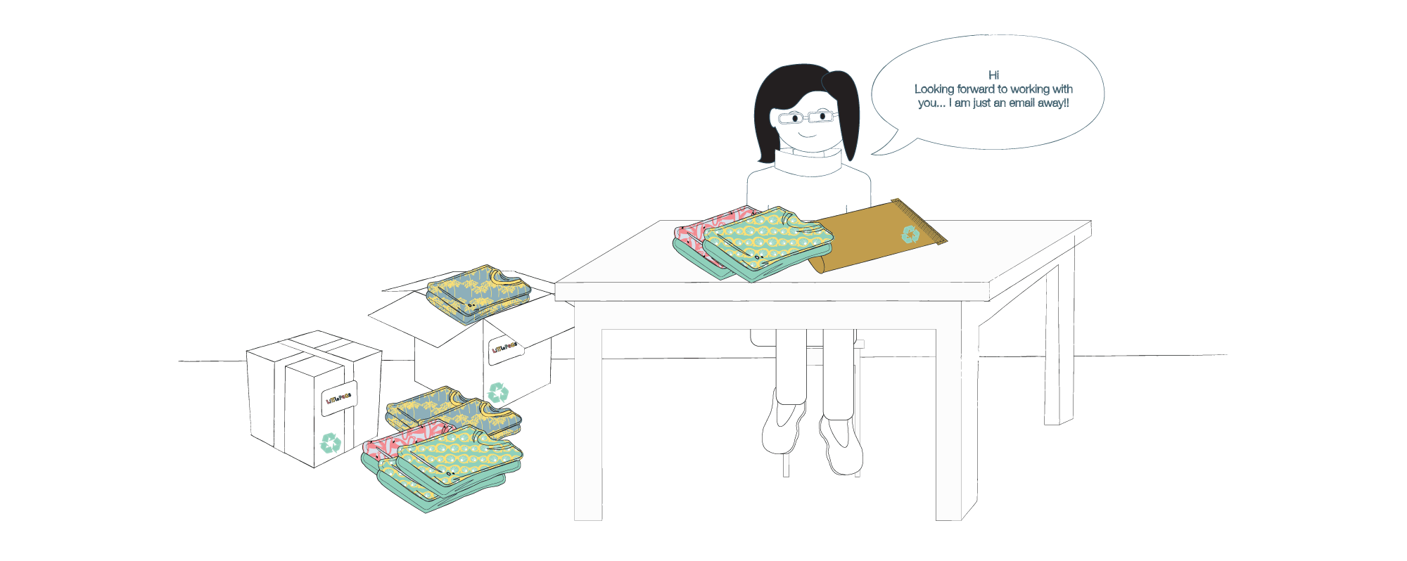 Children's clothing brand | Little Pegs | Illustration of jenny the owner packing up boxes of Little Pegs clothing ready for wholesale shipping