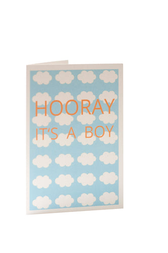 Auryn Papeterie - Hooray it's a boy - Karte zur Geburt - AURYN Shop