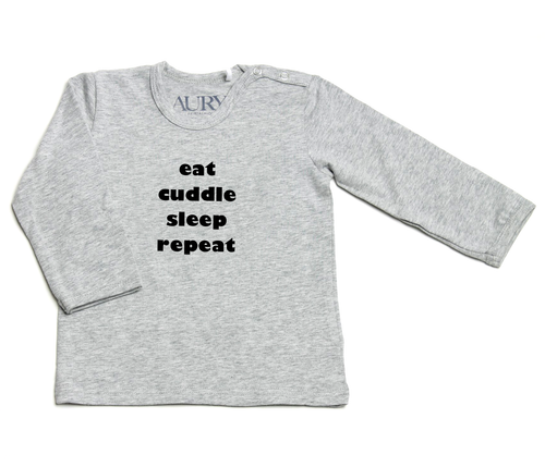 Auryn - Shirt grau eat cuddle sleep repeat schwarz - AURYN Shop