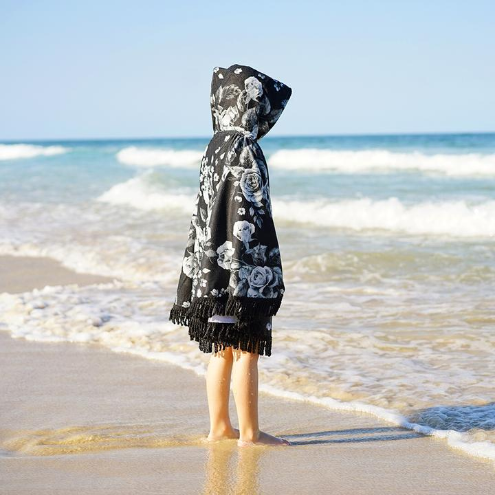 Midnight Blossom Hooded Towel