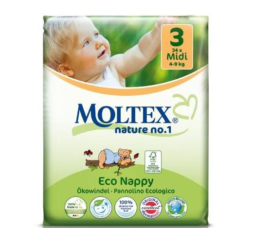 Moltex eco friendly MIDI NAPPIES (4-9kg) 34 nappies per pack