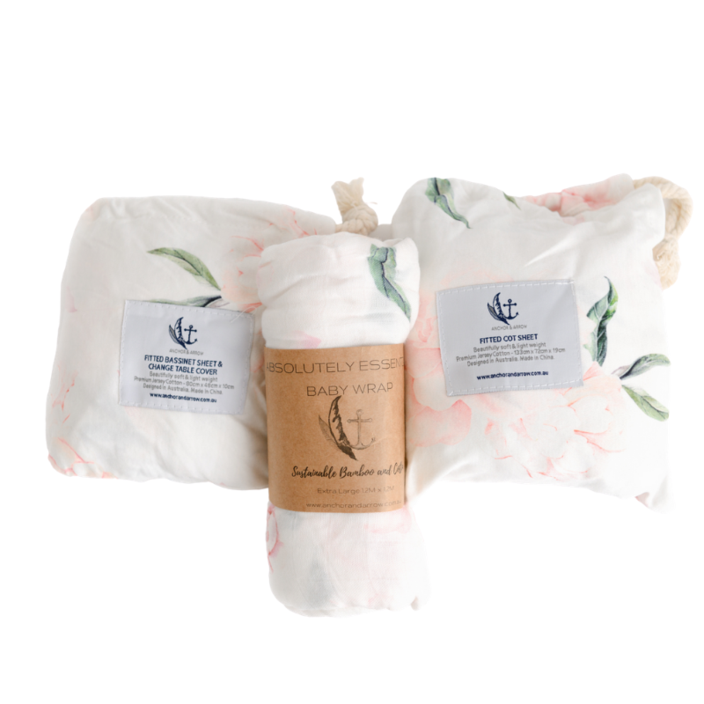 Gift Set - Swaddle, Cot sheet and Bassinet Sheet Set