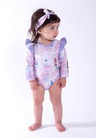 Unicorn LS Ruffle Onesie - Aster and Oak